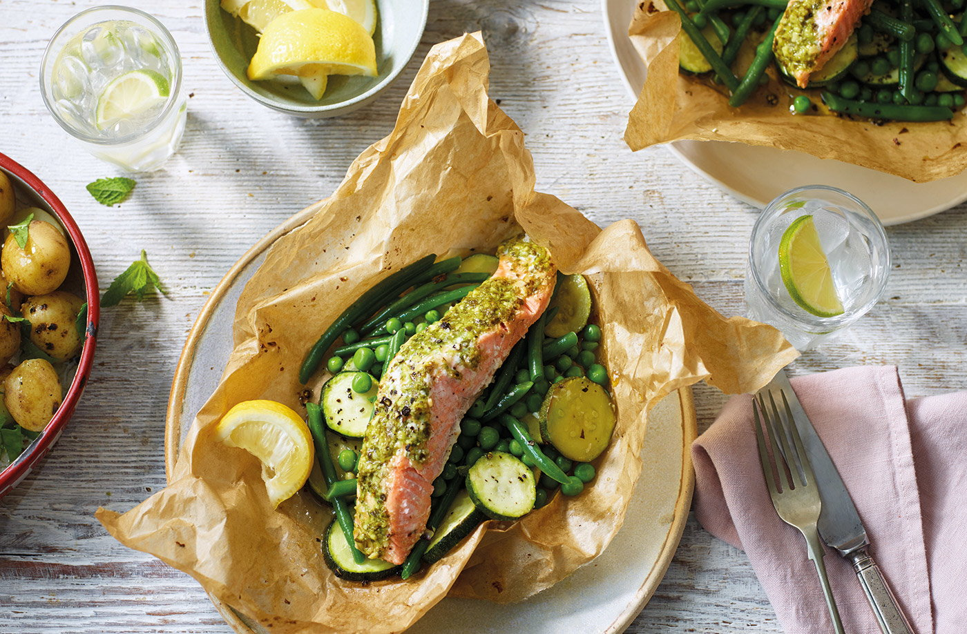 Pesto salmon parcels with green veg recipe