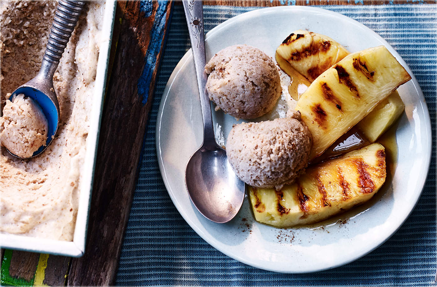 Griddled pineapple with smoked bread and banana ice cream