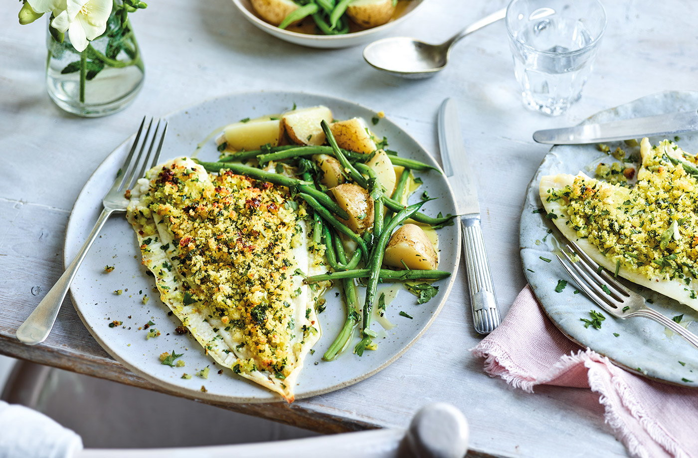 Plaice with lemon, garlic and parsley crust recipe
