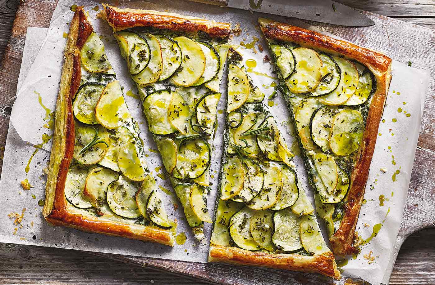 Potato and courgette tart recipe
