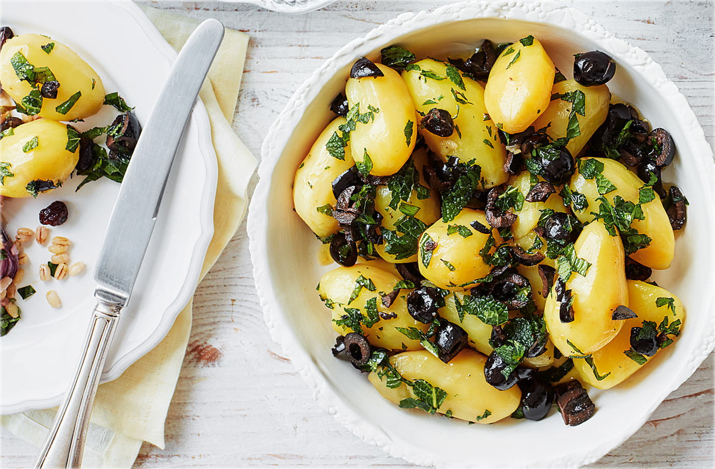 New potatoes with mint oil and black olives recipe