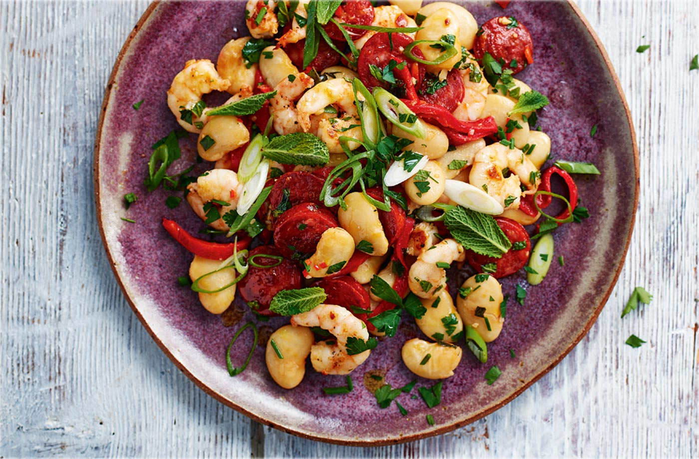 Warm prawn, chorizo and butter bean salad