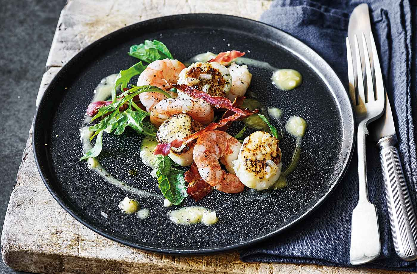 Scallops, prawns and pancetta with beurre blanc recipe
