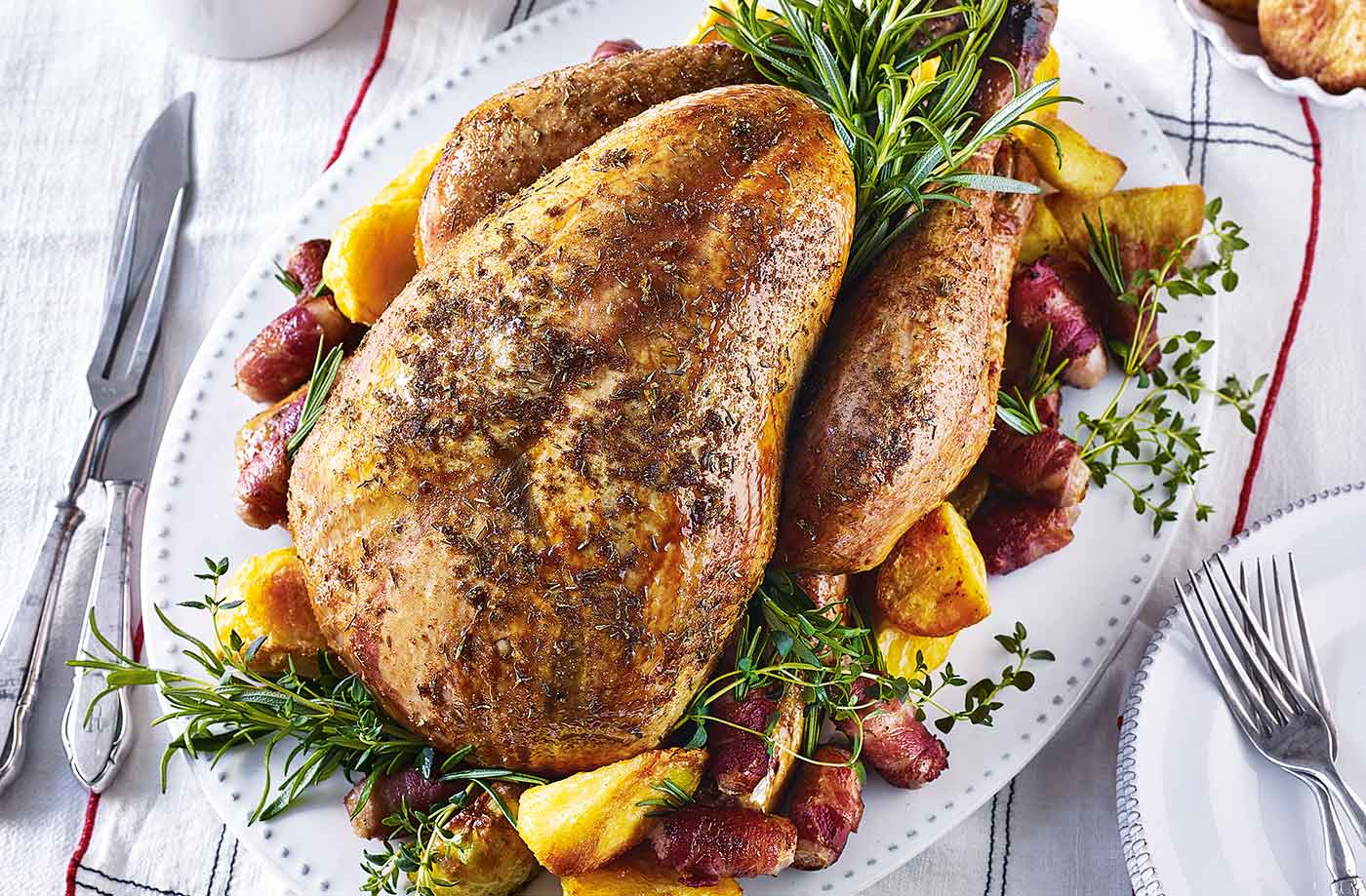 Roast turkey with orange and thyme rub