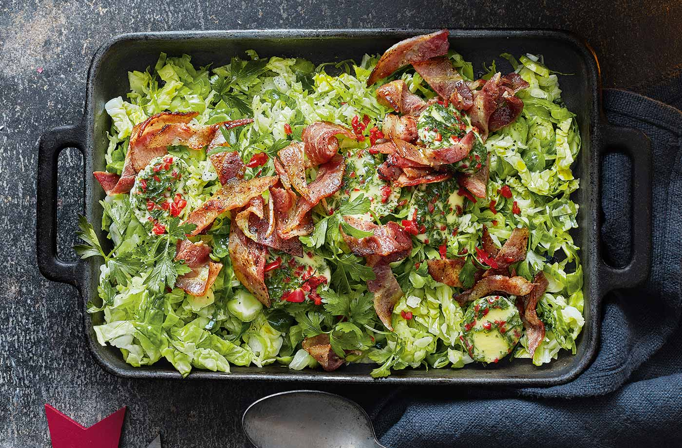 Shredded sprouts with bacon and chilli butter recipe