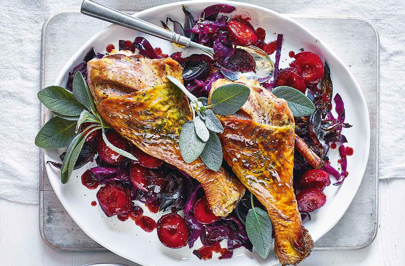Turkey legs with cabbage and plums recipe