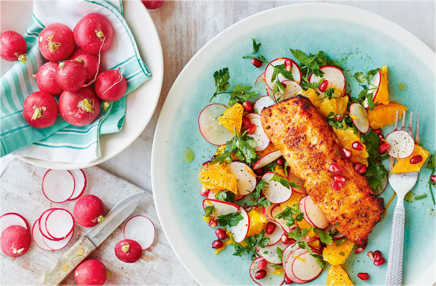 Trout with radish, orange and pomegranate salad recipe