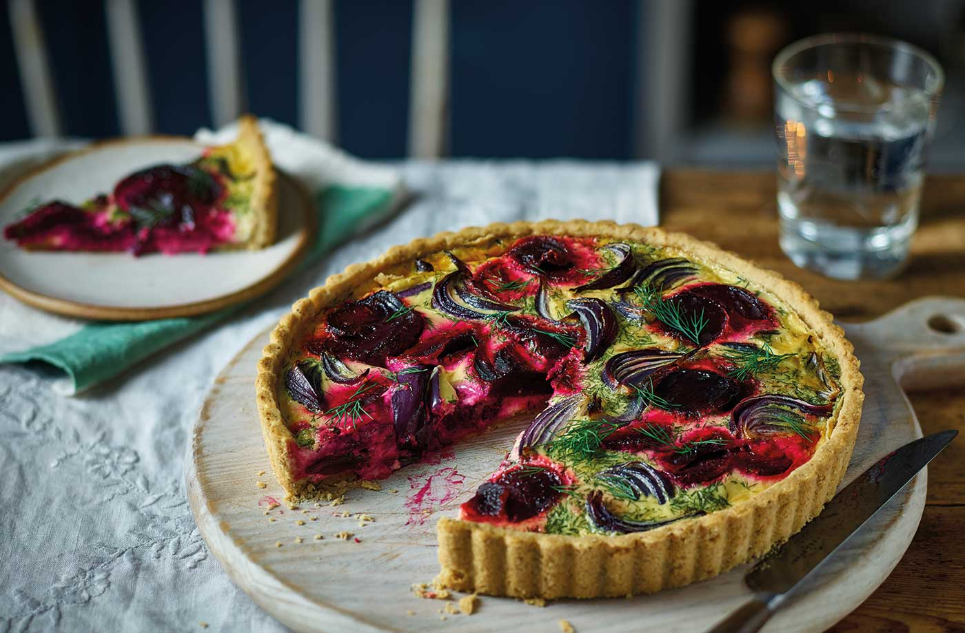 Red onion and beetroot quiche  recipe