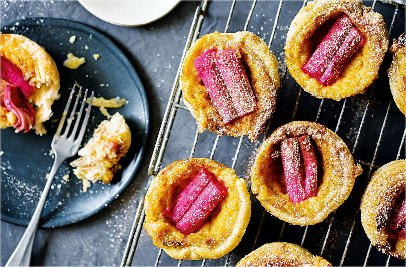 rhubarb and custard portuguese tarts. Black Bedroom Furniture Sets. Home Design Ideas