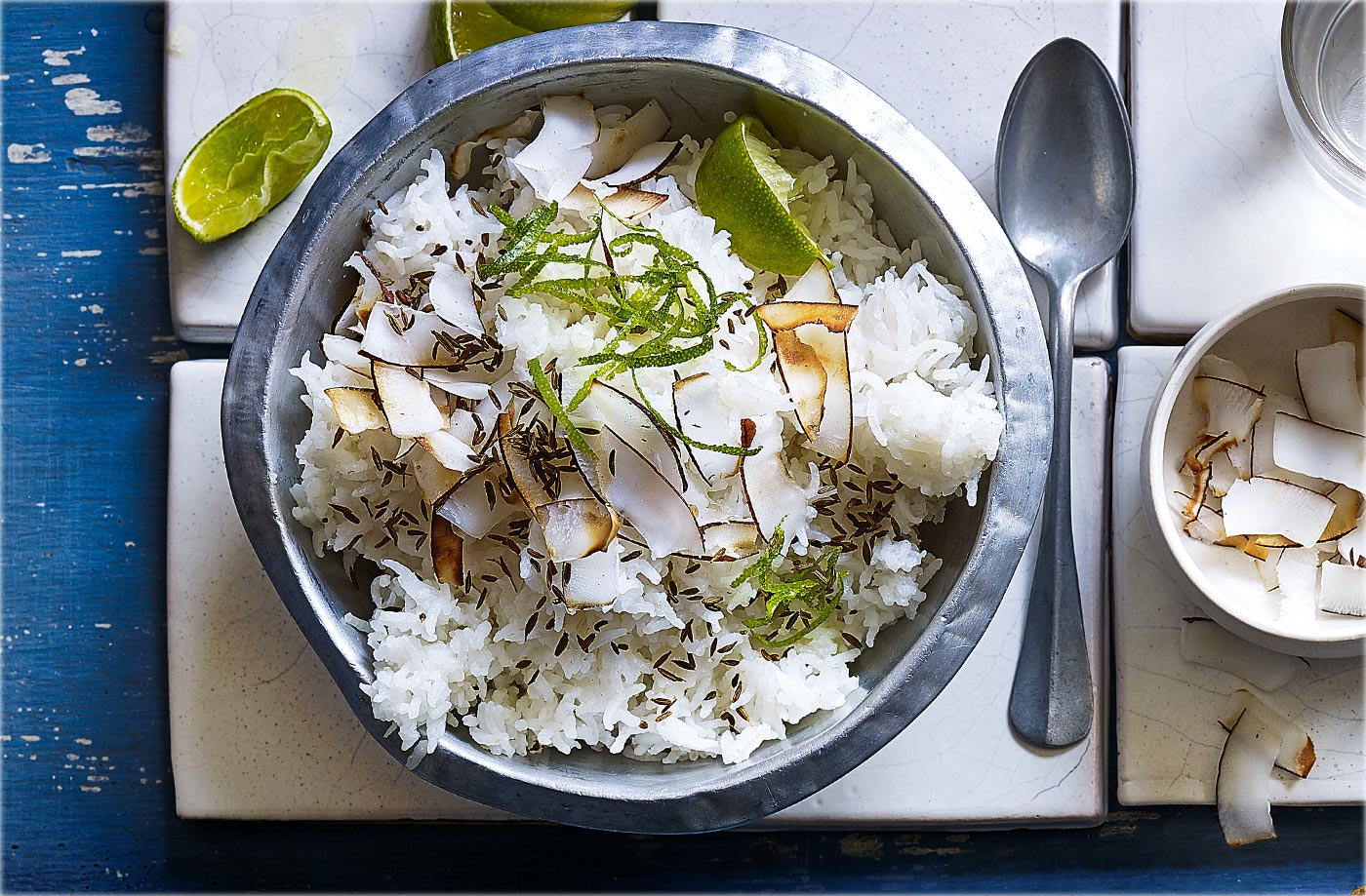 Rice with lime and coconut recipe