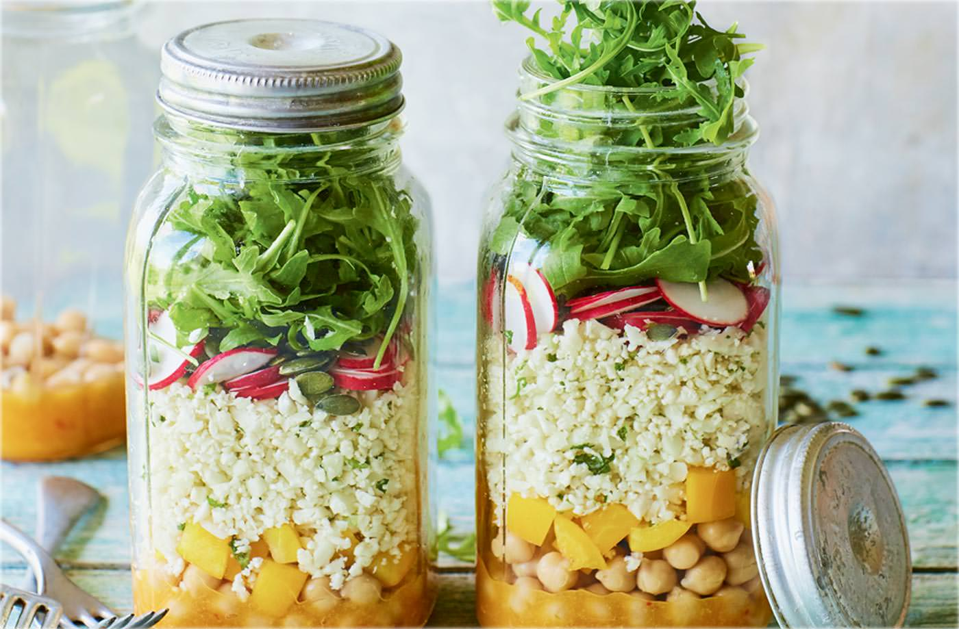 Cauliflower rice salad jars with mango dressing recipe