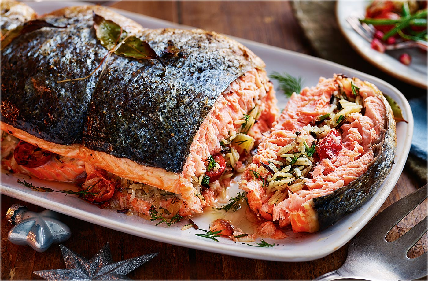 Rice Stuffed Salmon With Herby Buttermilk Sauce