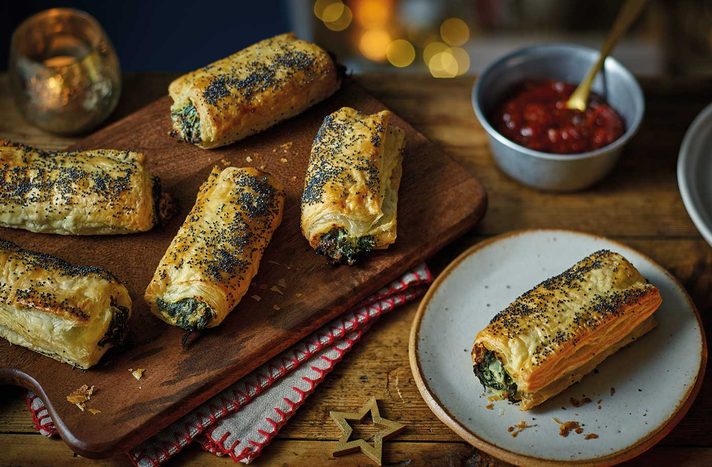 Spinach and ricotta sausage rolls