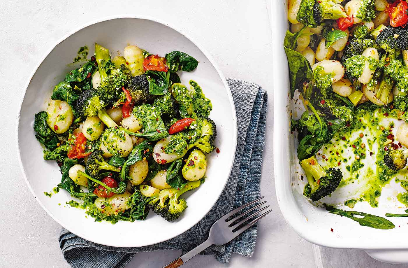 Roast gnocchi with veg and spinach pesto recipe