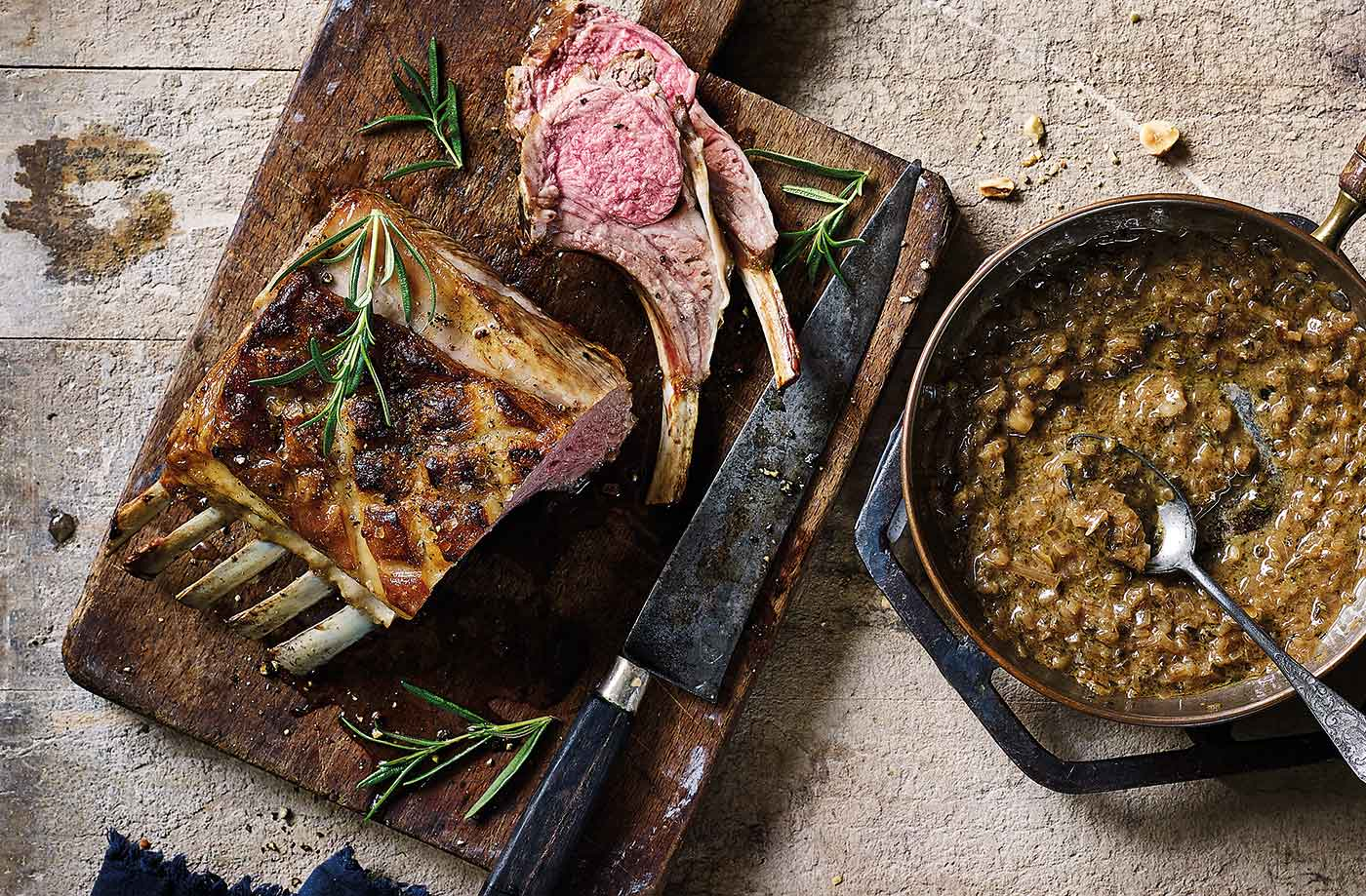 Roast rack of lamb with shallot sauce recipe