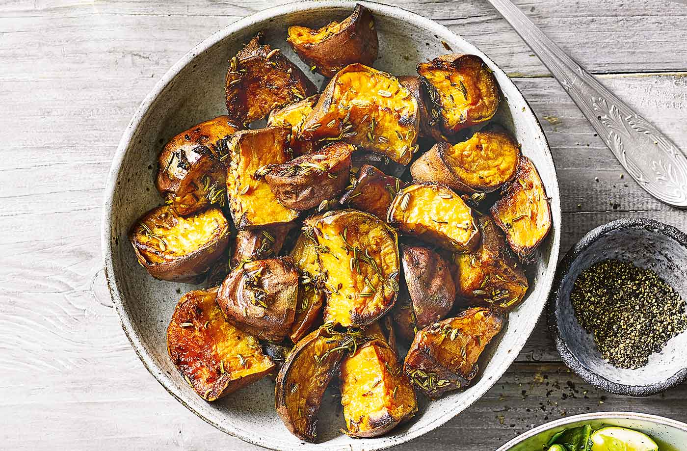 Roast sweet potatoes with rosemary and lemon recipe