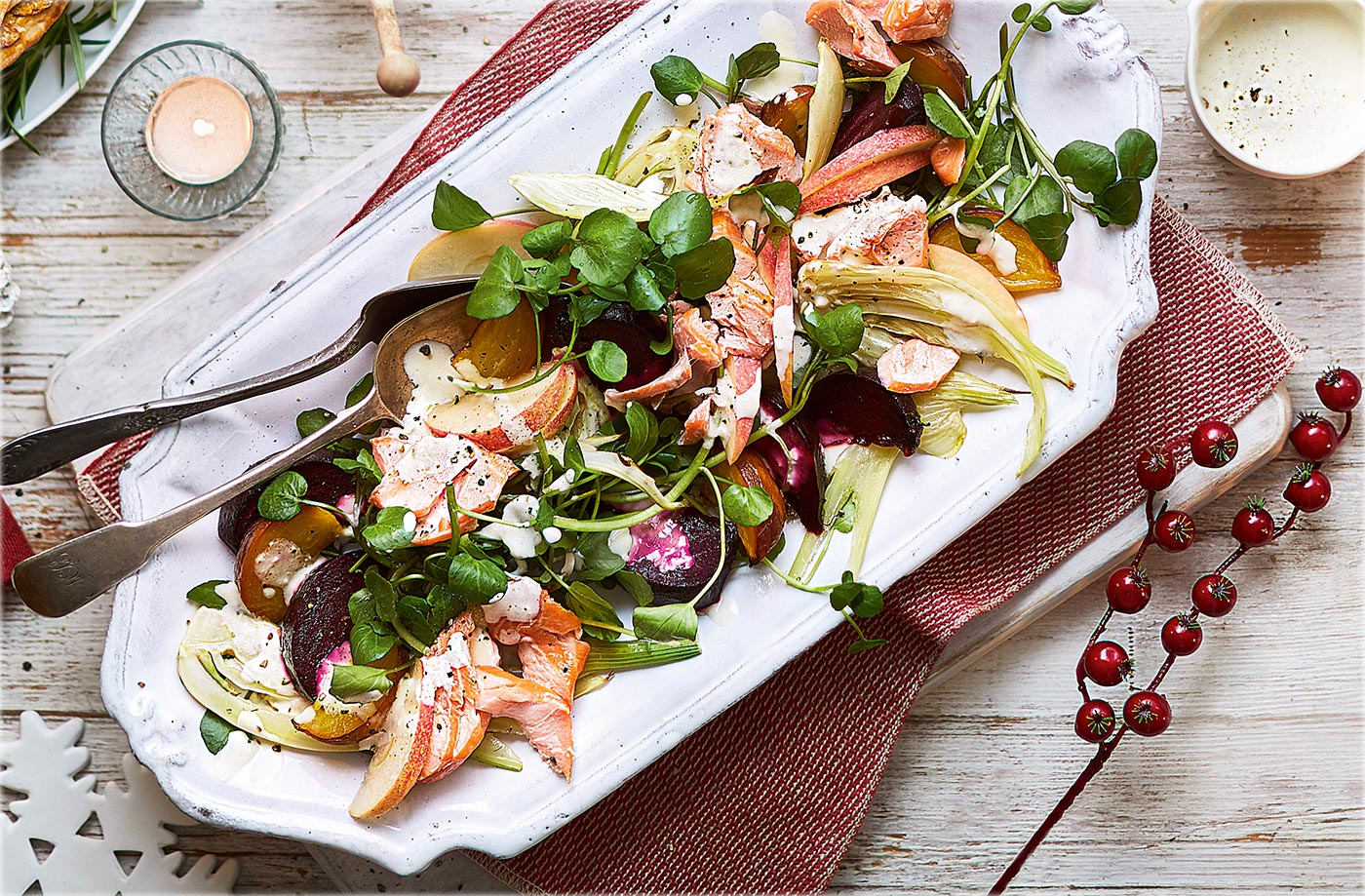 Roasted beetroot, fennel and apple salad with hot smoked salmon recipe
