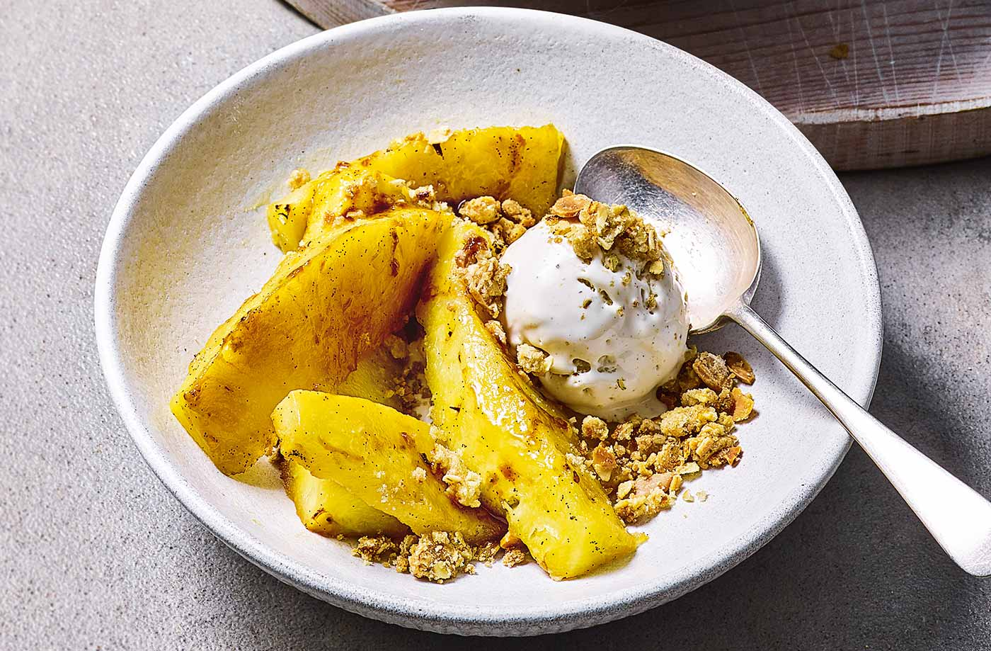 Roasted pineapple and almond crumble recipe