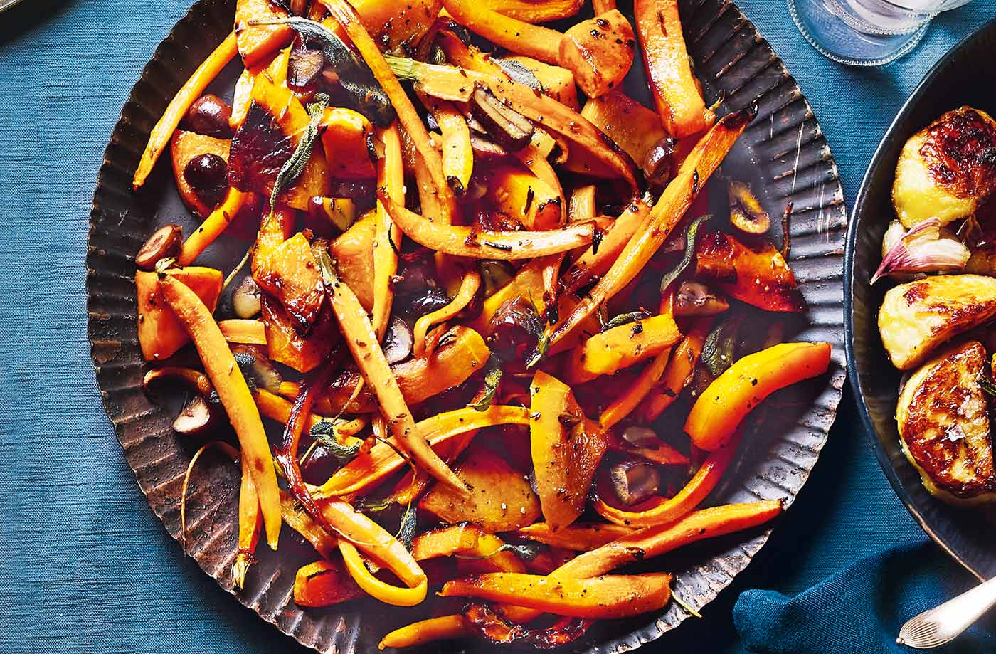 Roasted squash and carrots with chestnuts and sage recipe