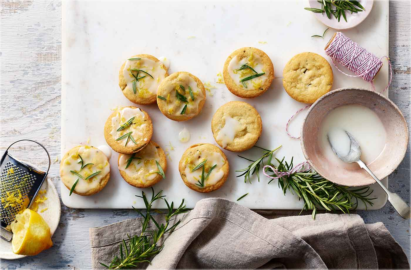 Rosemary shortbreads with lemon icing recipe