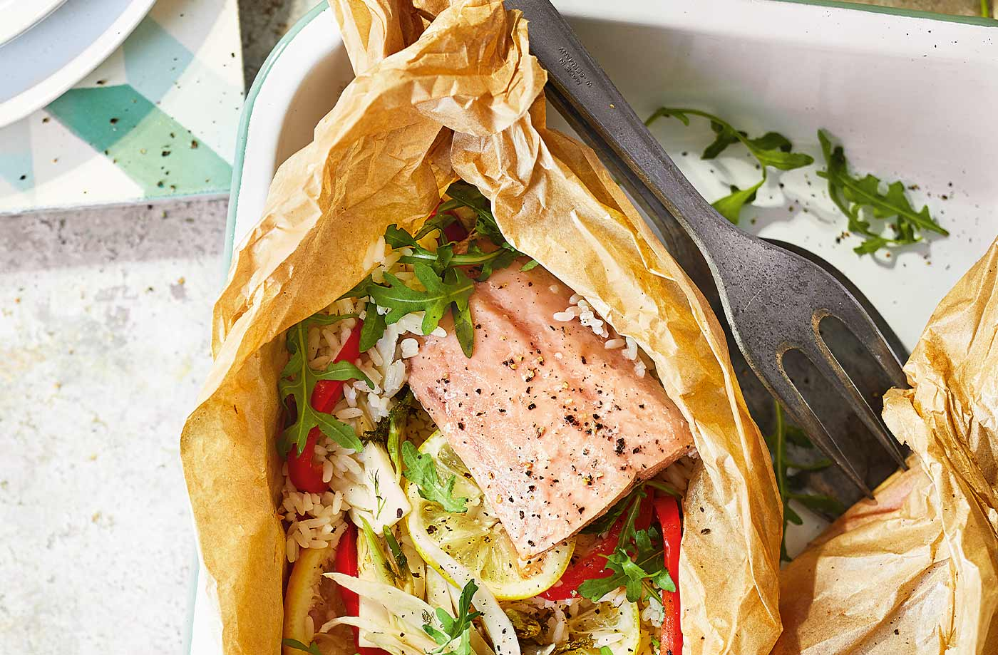 Salmon and rice parcels