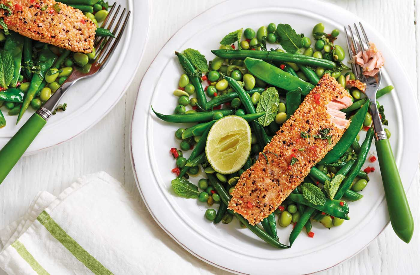 Salmon, green beans and peas recipe