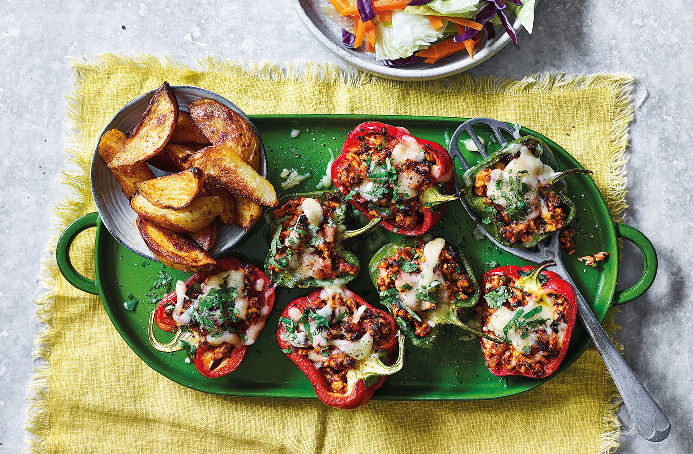 Sloppy-joe stuffed peppers with wedges recipe