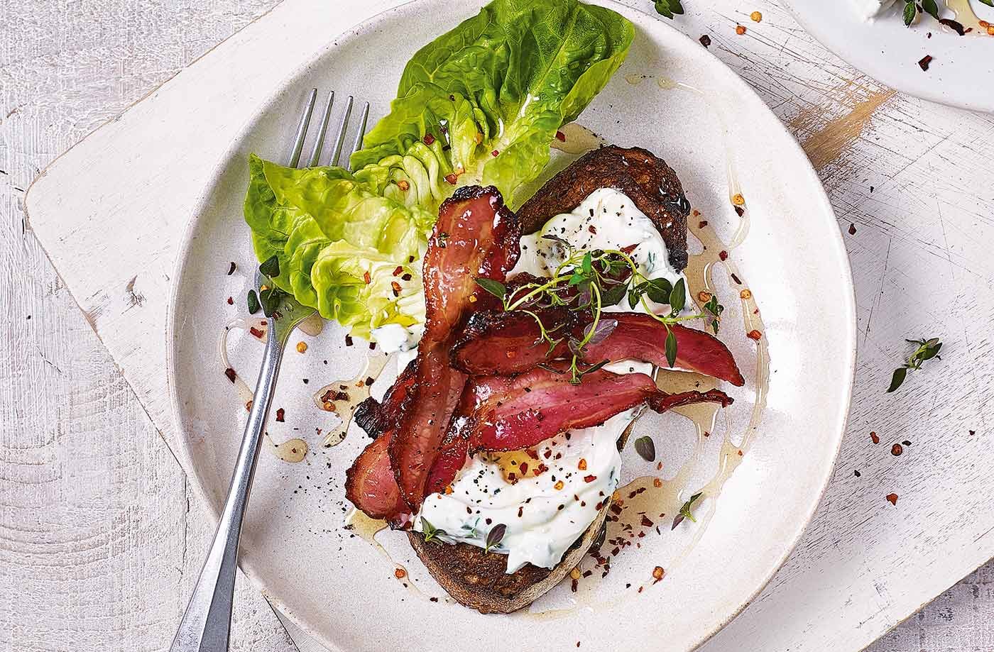 Soft cheese and bacon on toast recipe