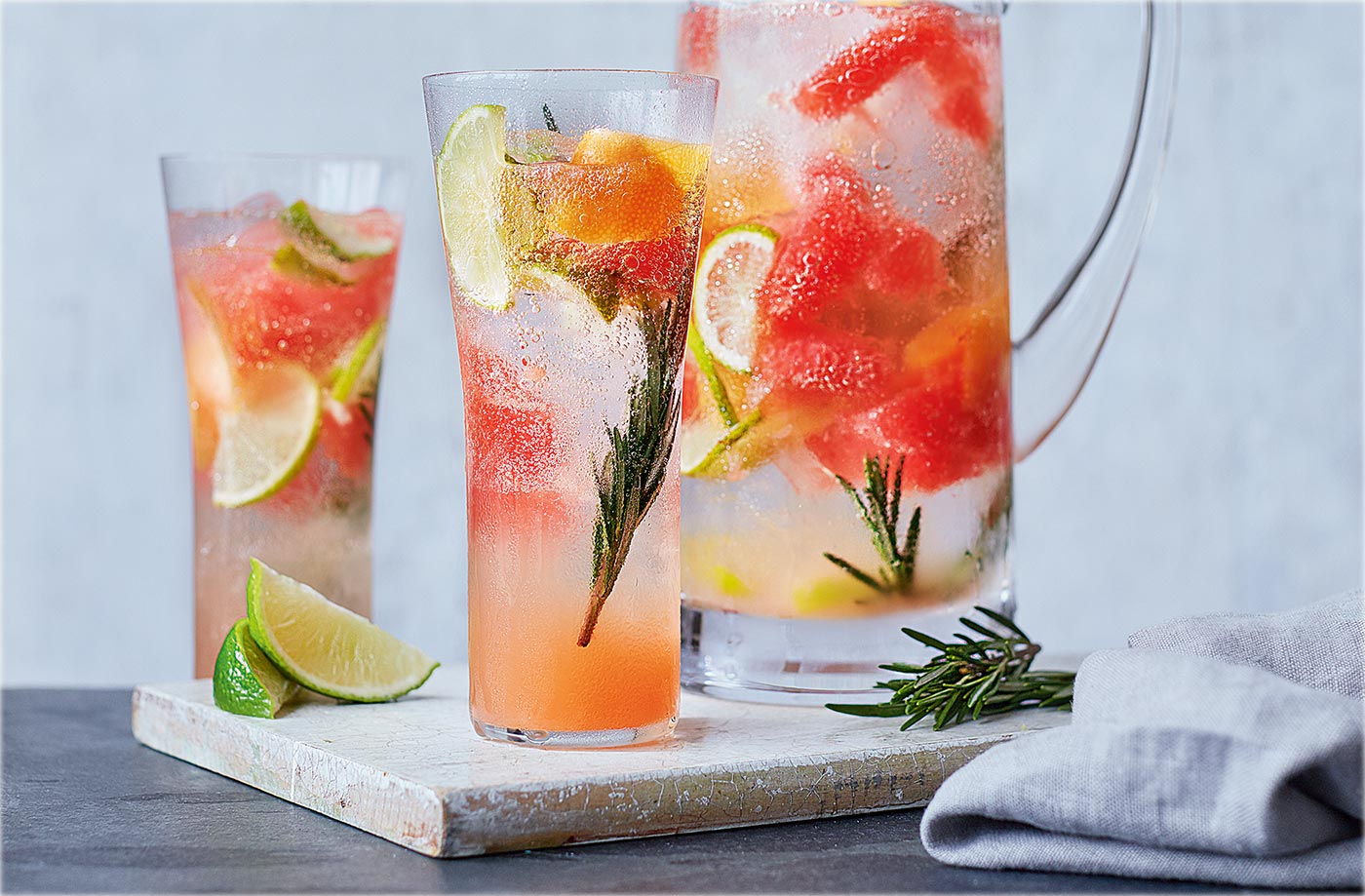 Sparkling grapefruit, lime and rosemary water recipe