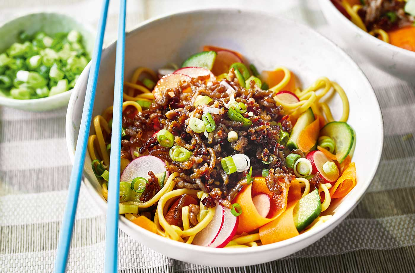 Spicy noodle salad bowl recipe