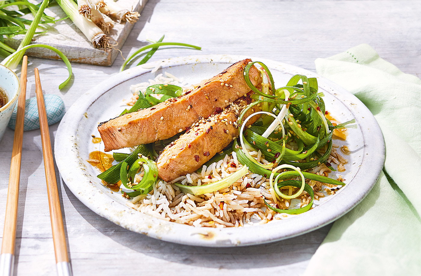 Salmon and spring onion salad recipe