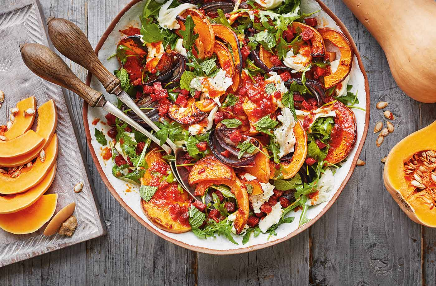 Squash, chorizo and mozzarella salad recipe