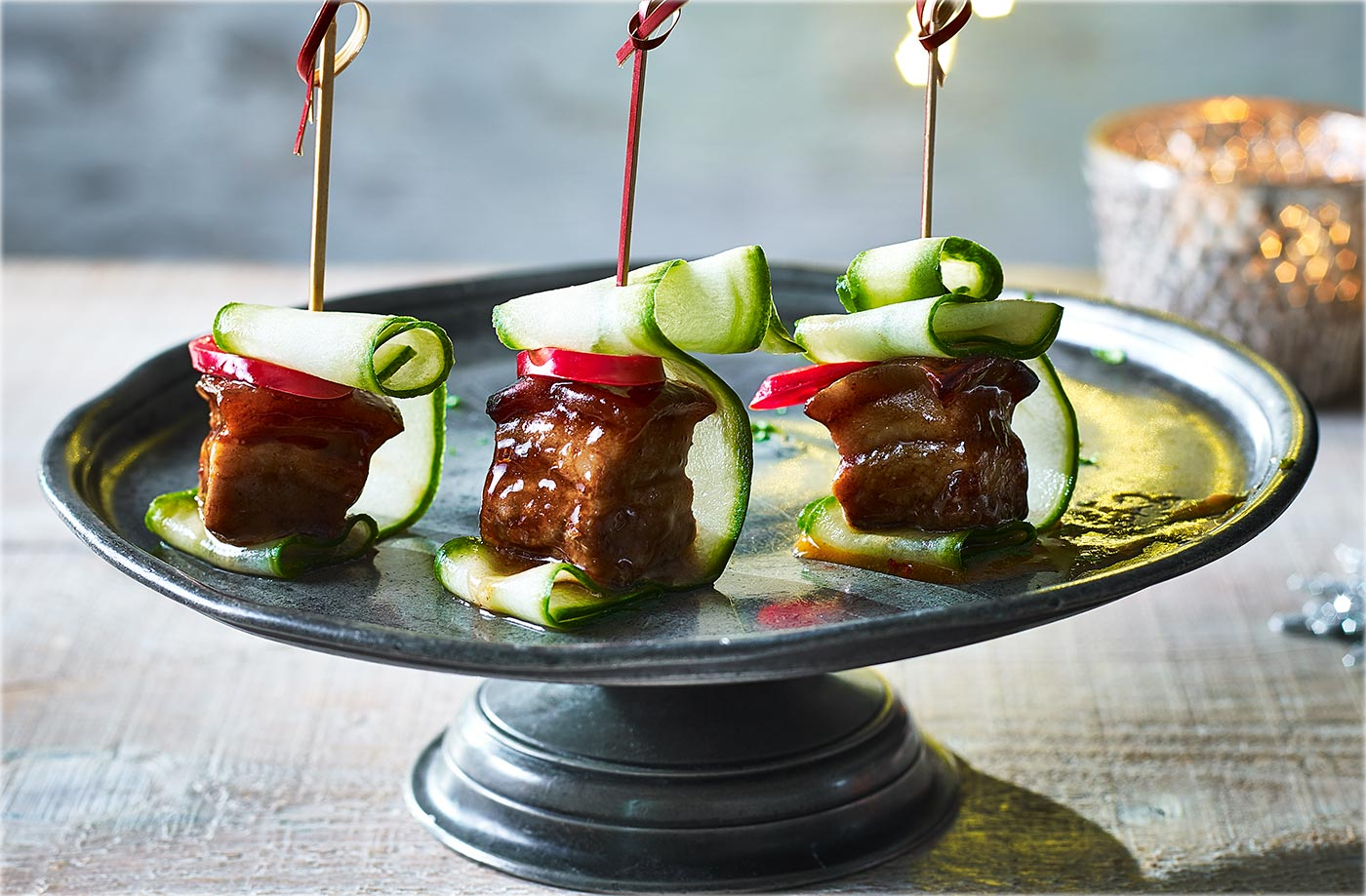 Sticky pork belly skewers tesco real food for Canape oriental