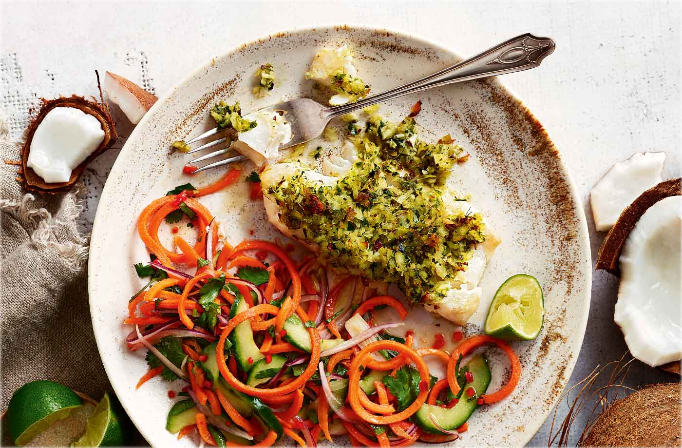 Thai-style coconut-crusted cod