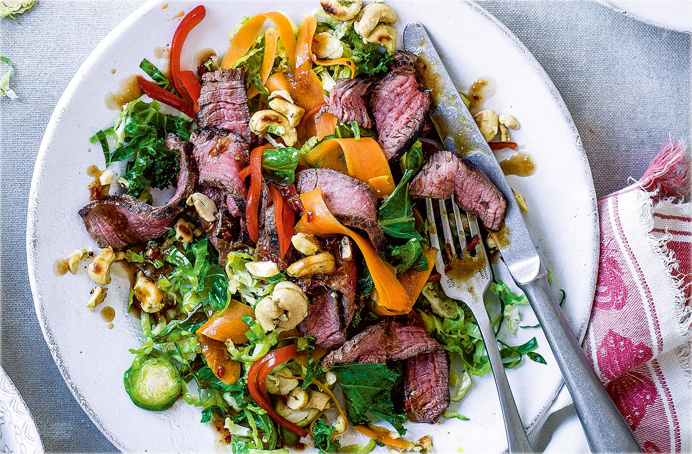 Thai beef and sprout stir-fry with salt and pepper cashews recipe
