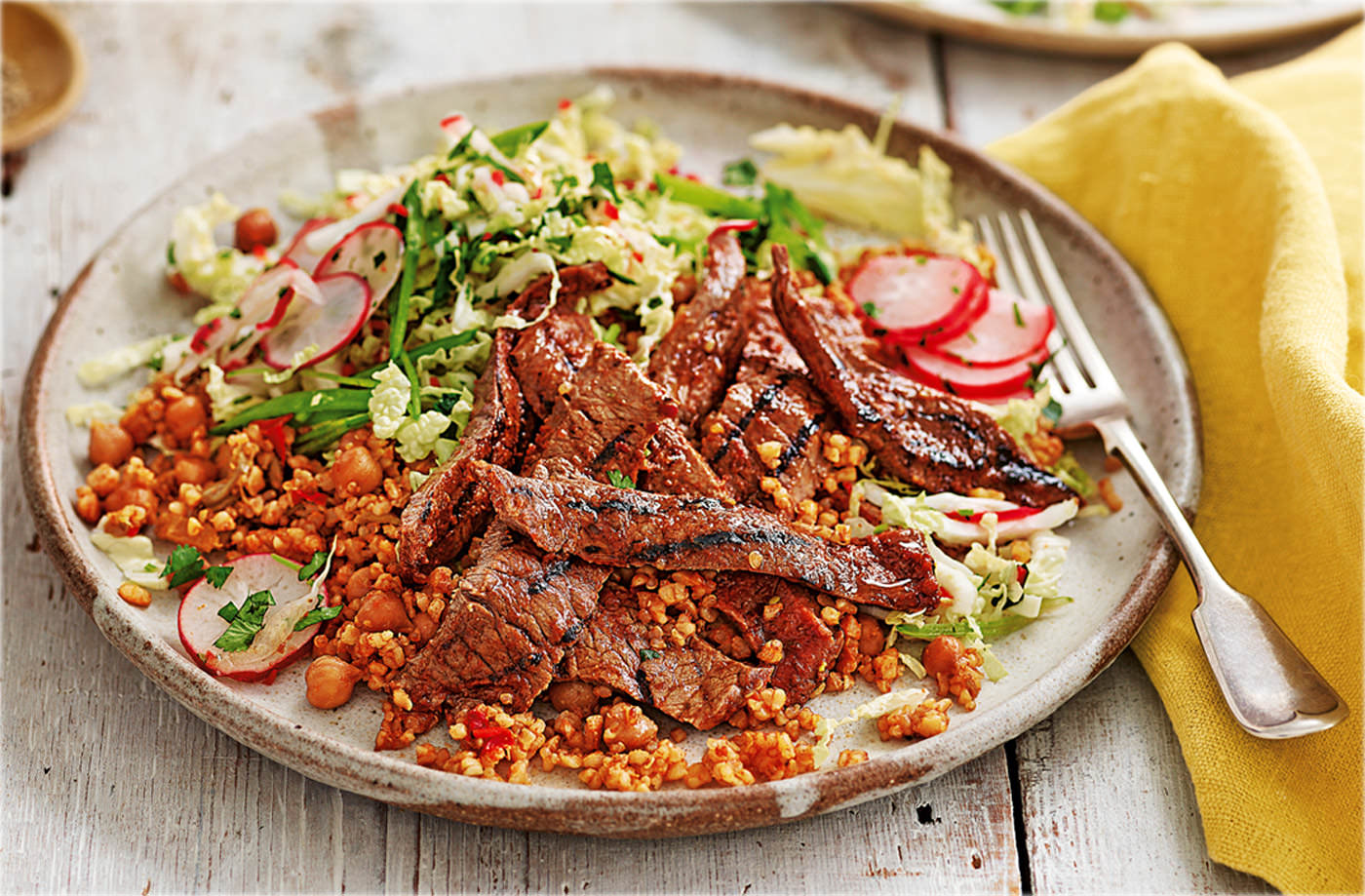 Thai steak with spiced Asian slaw recipe