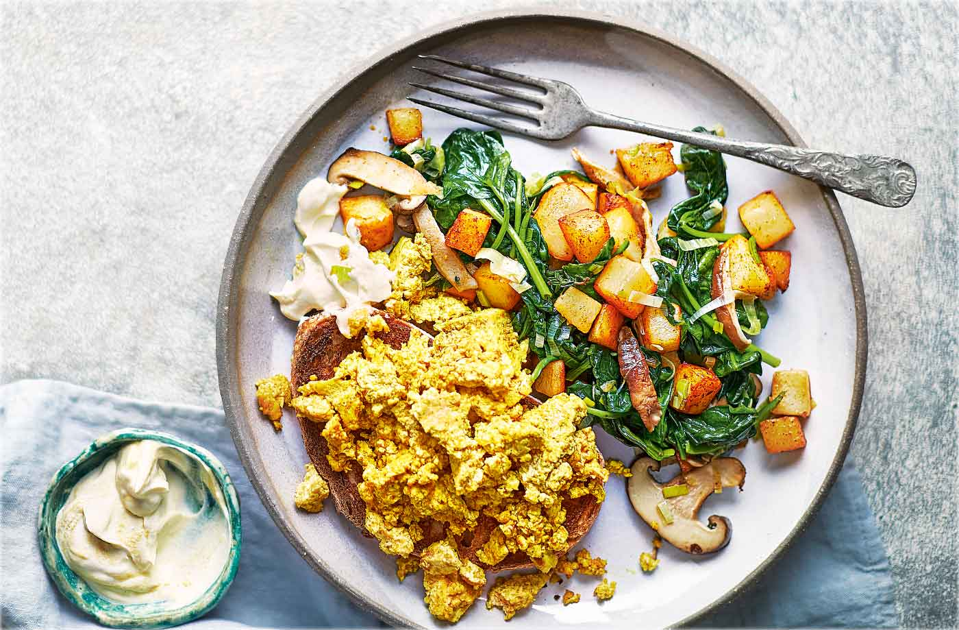 Tofu scramble with potato, spinach and shiitake hash recipe