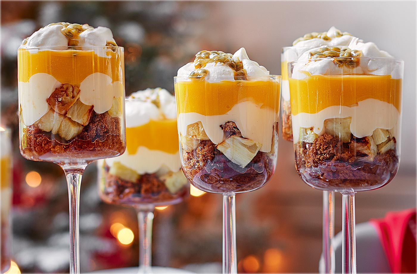 Christmas Deserts.Tropical Fruit Trifles
