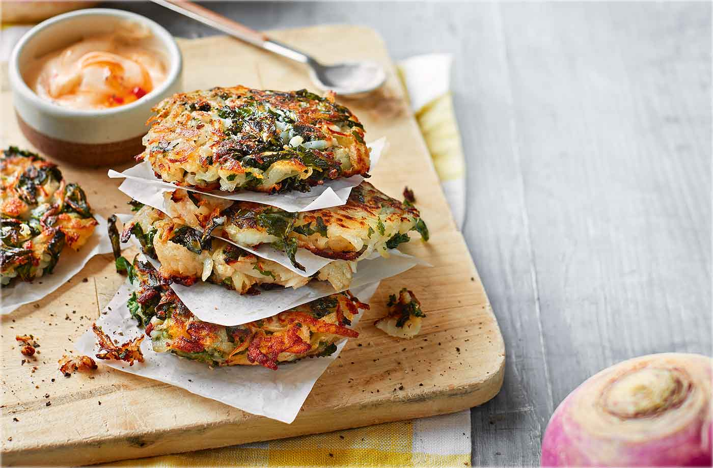 Turnip and kale rostis with chilli mayo