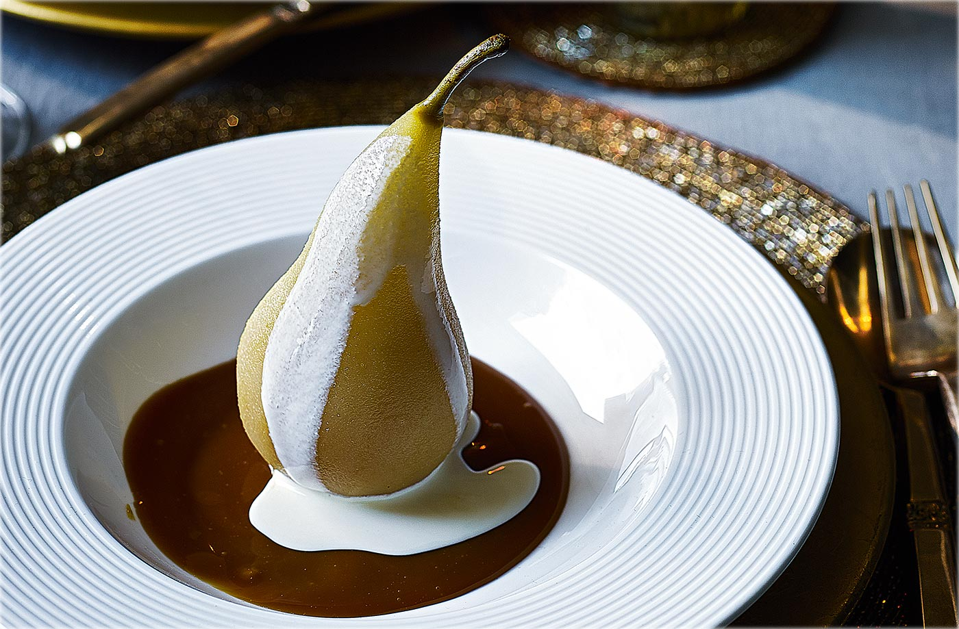Vanilla poached pears with salted caramel sauce recipe