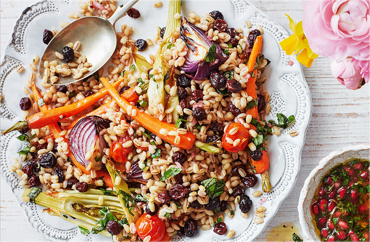 Roasted vegetable pearl barley with honey vinaigrette