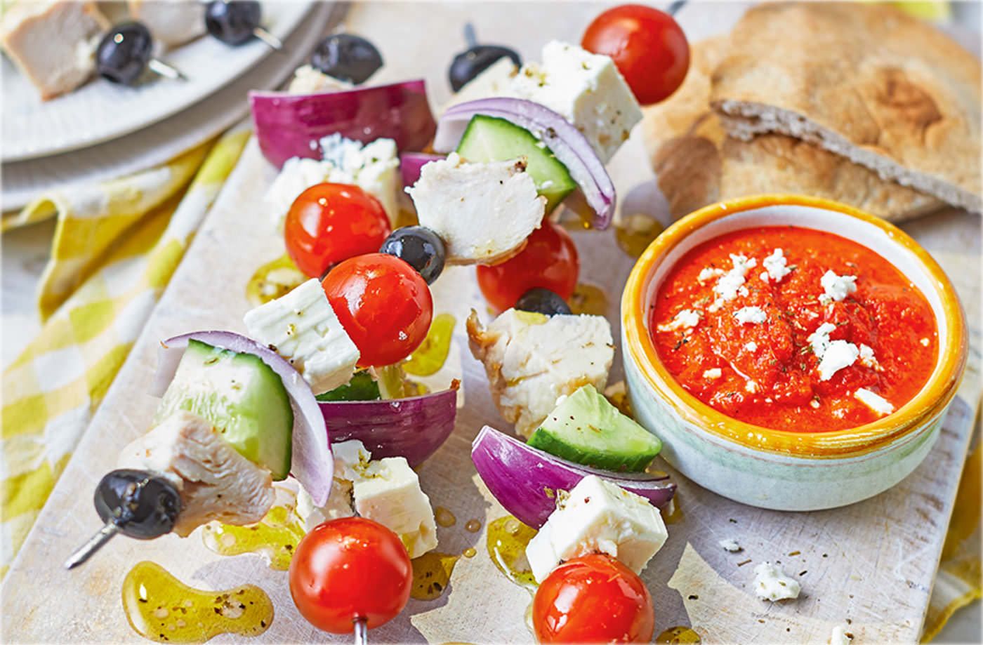 Greek salad kebabs with red pepper dip recipe