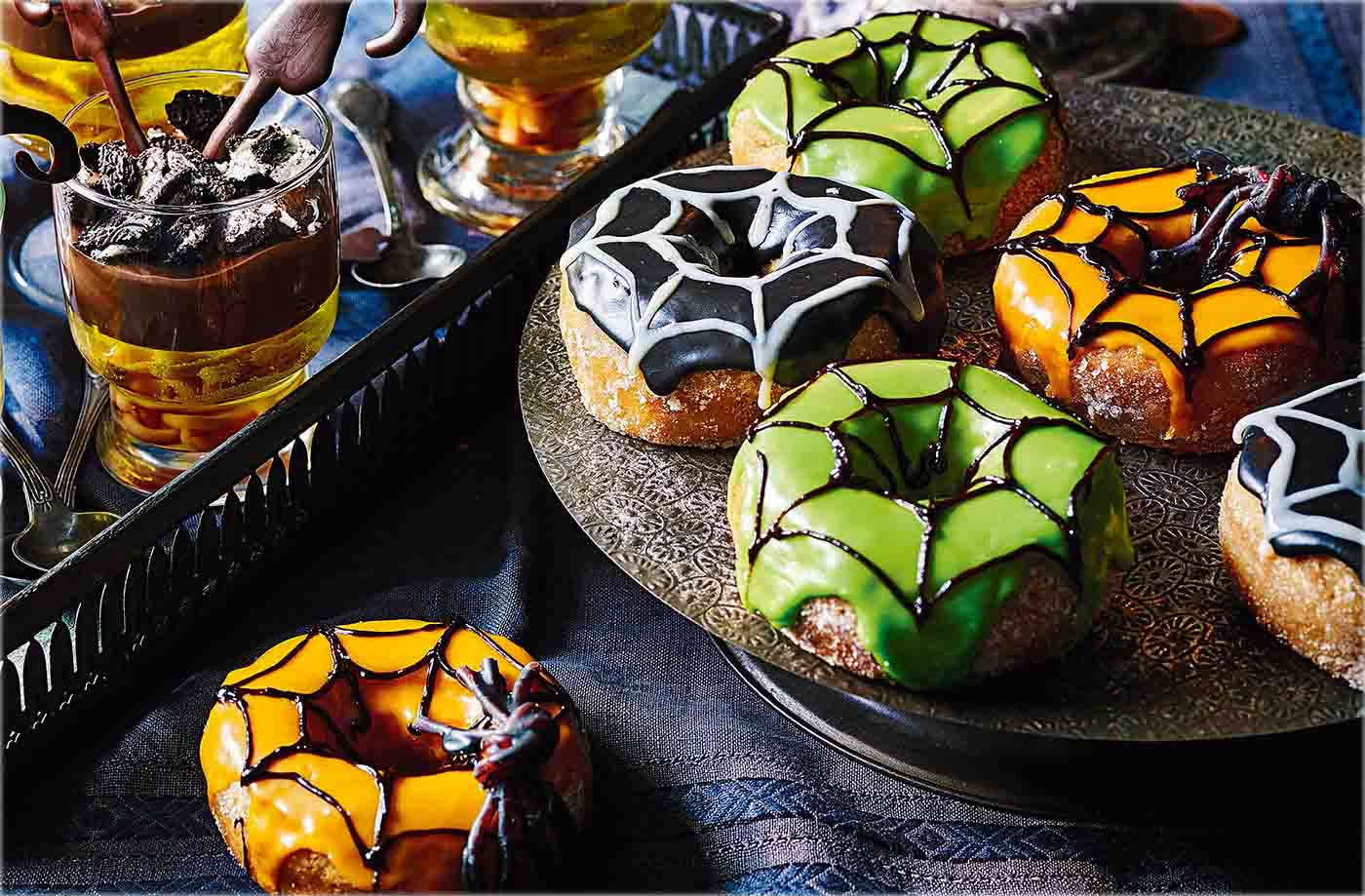 spiderweb doughnuts recipe   halloween party food ideas   tesco real