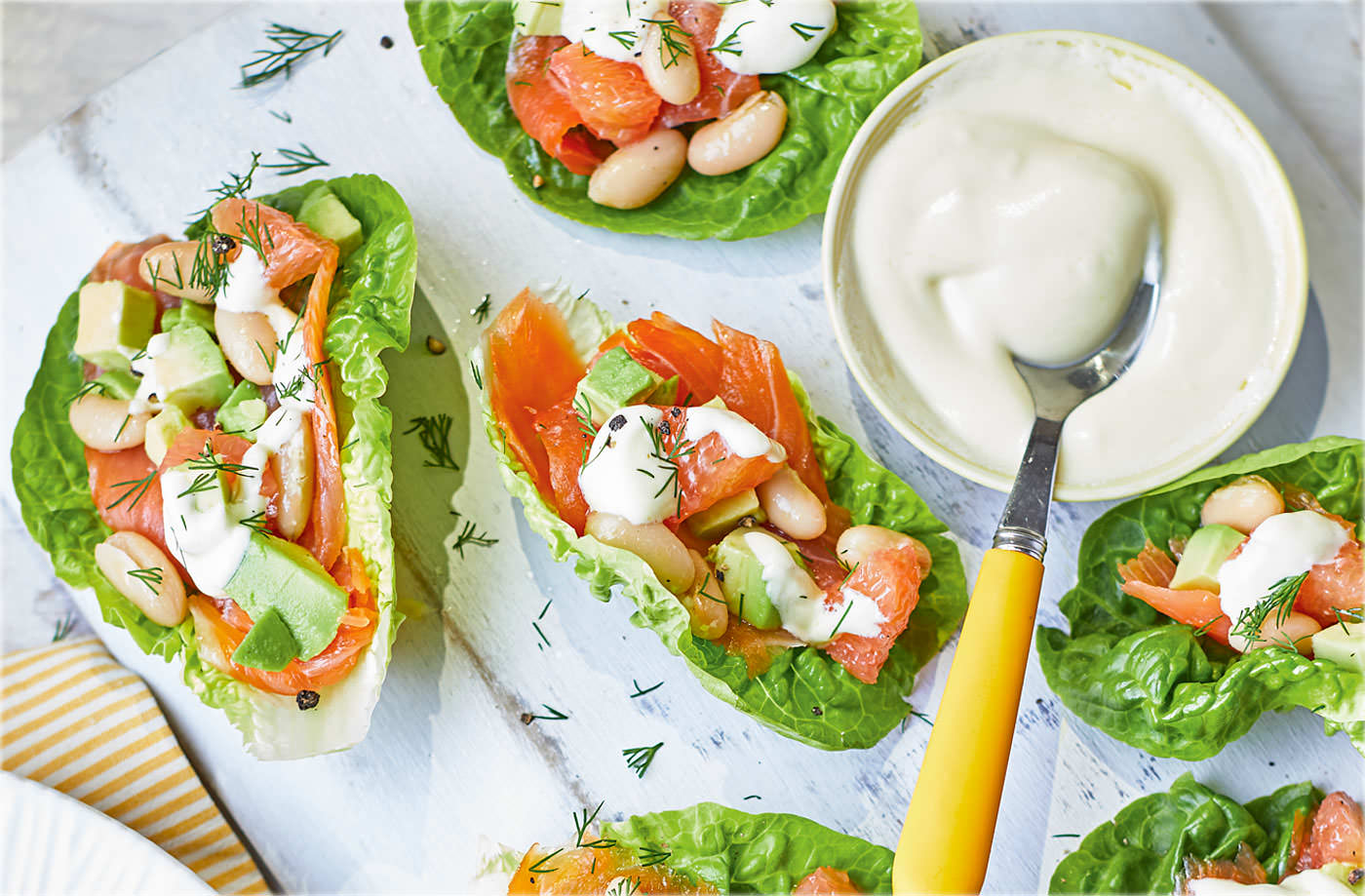 Smoked salmon, grapefruit and avocado lettuce cups