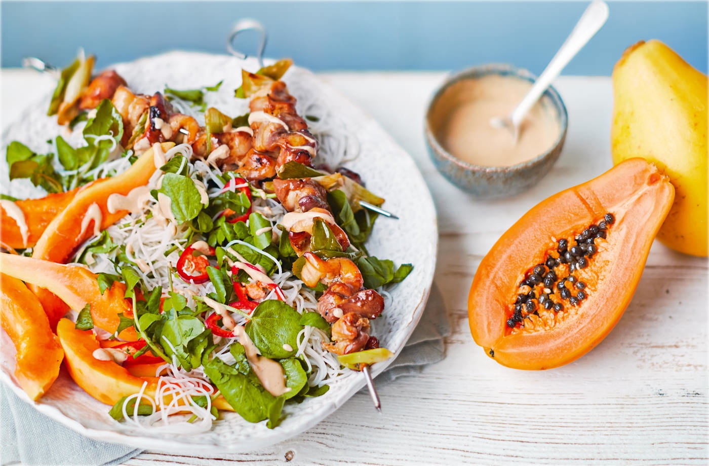 Healthy dinner healthy dinner ideas tesco real food caramelised chicken and papaya satay noodles forumfinder