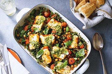 Baked halloumi with chickpeas and greens