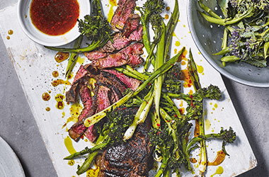 Steak and purple sprouting broccoli