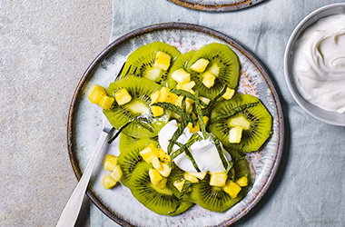 Kiwi, banana and lime fruit salad