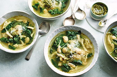 Pesto chicken soup