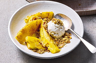 Roasted pineapple and almond crumble